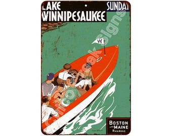 Lake Winnipesaukee Boston & Main RR Vintage Reproduction 8x12 Sign 8121332