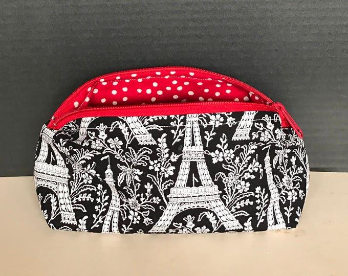 Eiffel Tower Paris Print Bag with Black and White polkadot  Lining | Make-up bag, Zipper Pouch, Art supply bag, Money bag, Cosmetic bag.