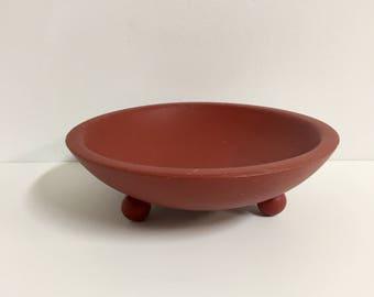 Vintage Footed Munising Bowl/ Barn Red Munising Bowl/ Painted Munising Bowl/ Vintage Wood Bowl