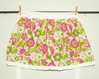 Children's pink and green flower Apron