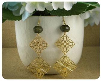Labadorite, Gold Plated Filigree, Double Dangle Earrings
