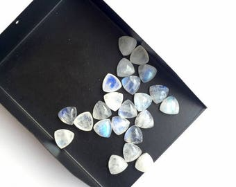 ON SALE 50% 20 Pieces 8mm AAA Rainbow Moonstone Cabochons, Smooth Trillion moonstone Loose Cabochon, Calibrated Matched Pairs, Sku-Ms45