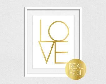 LOVE Foil Print // Gold Foil // Rose Gold Foil // Silver Foil // LOVE // LOVE Print // Valentine's Day Print // Real Foil Print