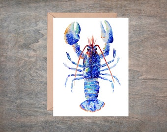 Kaleidoscope Lobster Card. Single card or 4 card set. Blank Card. Blue Lobster. Ocean Card. Lobster Card.