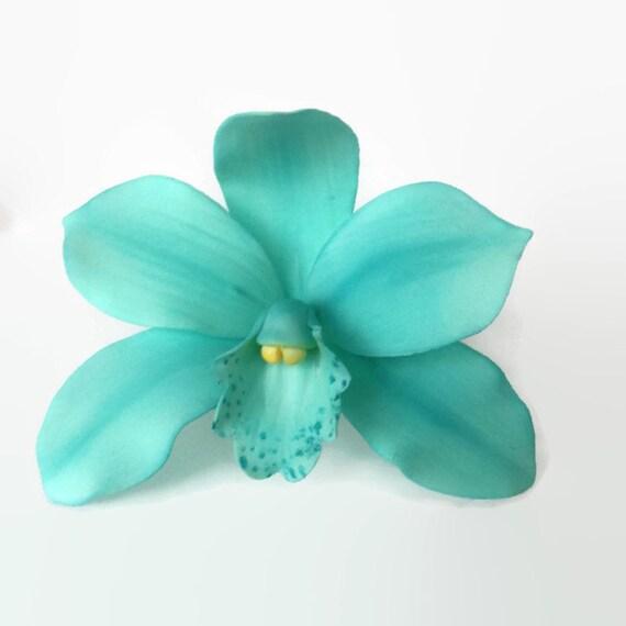 Teal Orchid Sugar Flower gumpaste cymbidium orchid wedding cake topper
