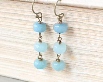Amazonite Earrings - Gemstone Earrings, Beachy Earrings, Bronze Earrings, Dangle Earrings, Drop Earrings, Blue Earrings, Aqua Earrings, Boho
