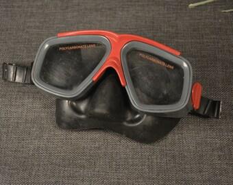 Vintage mask for swimming Vintage rubber diving mask Skuba mask Swimming mask Diving goggles Skuba diving Polycarbonate lens