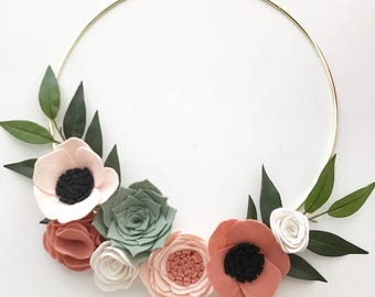 FELT FLOWER WREATH // Modern Wreath // Gold Hoop Wreath // Wall Art // Floral Wreath // Peach + Blush // Roses + Anemones // Succulents