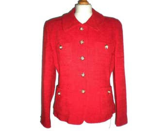 Vintage Womens Smart Collared Jacket Blazer Red with Gold and Pearl Coloured Buttons Grifine Grifinie UK 12