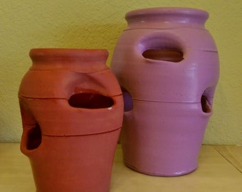 Craven Pottery Georgia Strawberry Planters Painted Terra Cotta Pocket Pots You Pick... or Take Both!