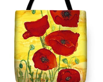 "Tote Bag ""Poppies"" Arty Tote Bag FREE SHIPPING"