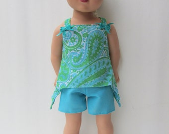 Blue and Green hi-lo top and shorts with sandals outfit for American Girl type dolls