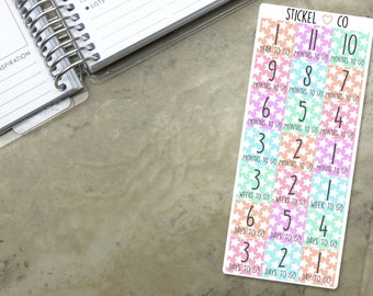 Monthly Countdown Stickers - Planner Stickers, Perfect for Erin Condren and other Life Planners