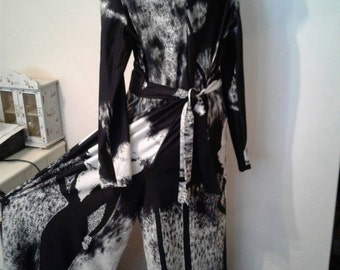 Black and white jump suit