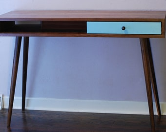 Mid Century Modern Dressing Table Solid Walnut Makeup Table Vanity