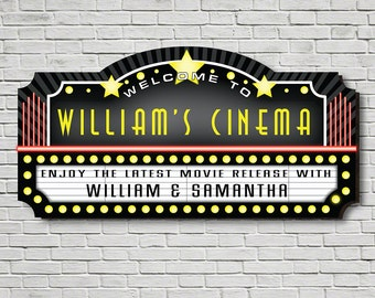 Welcome to the Movies Personalized Sign - Great Gift for Any Cinefile, Ideal Home Theater Decor, Red Yellow and Black Cinema Marquee, Custom
