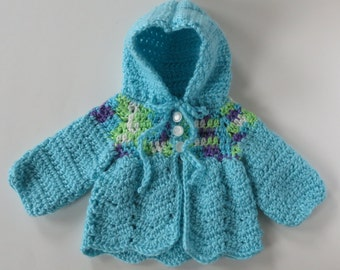 Crocheted Baby Sweater, Baby Aqua Sweater, Baby Shower Gift, Hooded Baby Sweater, Baby Boy Sweater, Baby Sweater, Ready To Ship