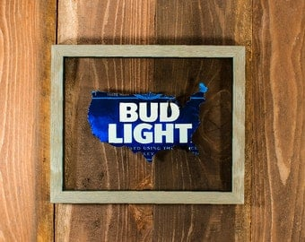 Bud Light USA Hand Cut Beer Can Art in a Unique Floating Frame- Custom Crafted and Perfect for your favorite Bar or Man Cave!