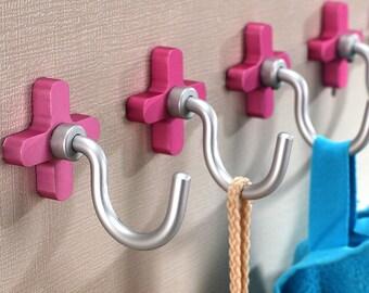 Wall Hooks Decorative Hooks Pink Sliver / Coat Hangers Coat Rack Bag Hooks  / Bath Towel