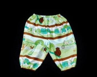 """Unisex Harem pants, Woodland harems, size 3-6  months, """"READY TO SHIP"""""""
