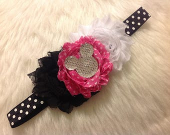 Mickey Mouse  Inspired Pink Boutique Hair Accessory