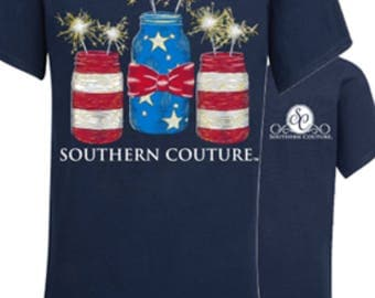 Southern Couture Mason jar spaklers tee new