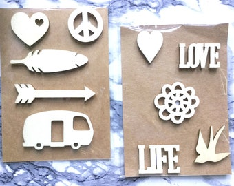 3D Wood Chip Shaped Icons|Scrapbooking Badges|Scrapbook Wood Flair Ephemera|Wood Pop-Up Pieces|Collage Pieces|Scrapbook|Junk Journal