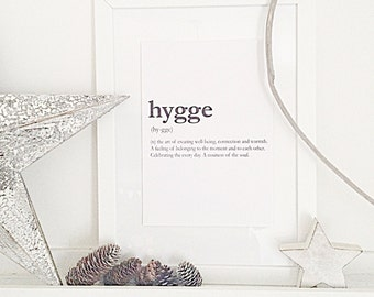Hygge Dictionary definition Style Home Print