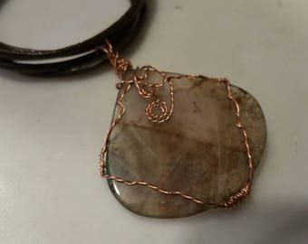 Moss Agate Wire Wrapped Necklace