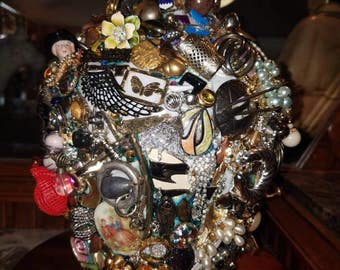 Assemblage Vase Cluster of Beads Baubles Vintage Jewelry