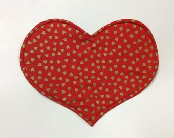 Valentine's Day Gold Hearts Placemats / Set of 4/   Reversible Red With Gold Hearts Print