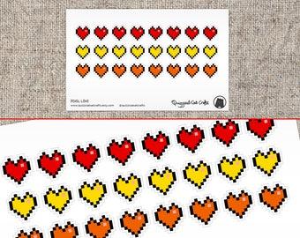 Pixel Heart Sticker // Retro 8 bit pixel love hearts // Pixelated planner stickers // Computer heart