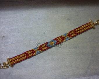 Hand-woven beaded bracelet bracelet Miyuki red gold handloom handmade loom woven beaded bracelet beads