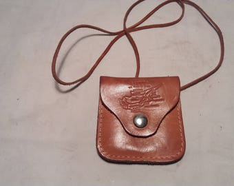 Vintage Handmade Brown Leather Purse for Coins - NEW