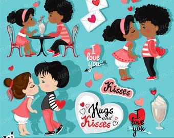 50% OFF SALE Valentine kids clipart 2 ,  My Cute Valentine, digital clip art, Instant Download Valentine's Day clipart .
