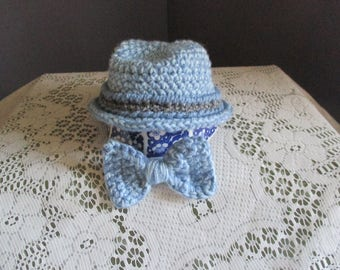 infant baby fedora hat and matching bowtie
