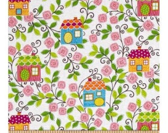 Sweet Tweet Houses  Benartex Cotton Quilt Fabric     By the Yard BFab