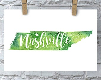 Nashville, Tennessee Watercolor Map - Giclée Print of Original Art - 5 Colors to Choose From