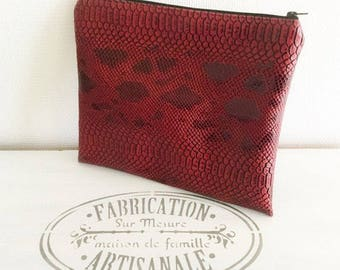 Red faux leather cover