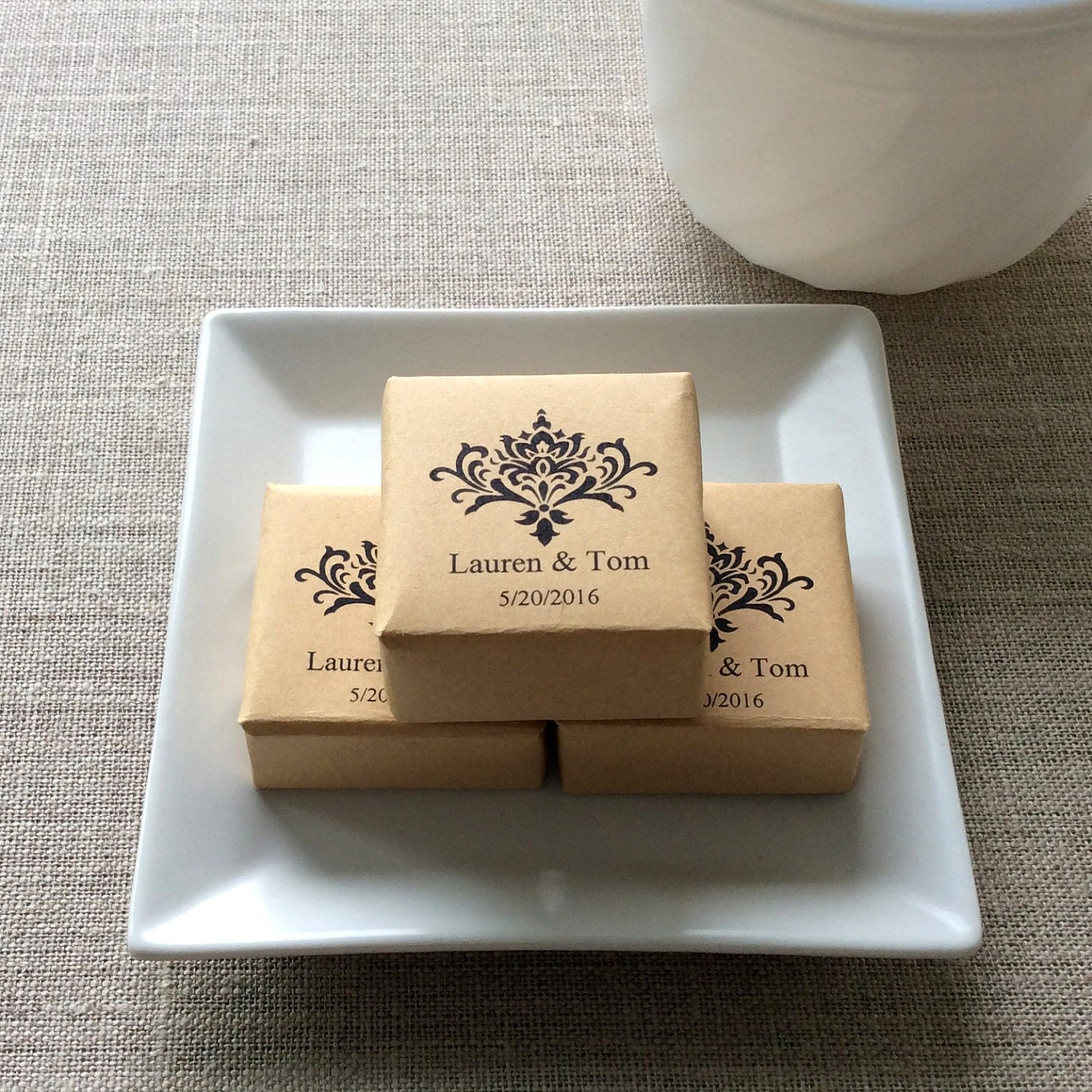 50 Personalized Mini Soap Favors, Damask wedding soap favors, personalized wedding favors, soap wedding favors, damask favors