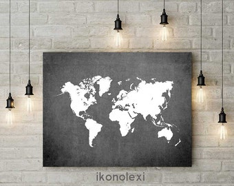 World map print, map poster, map of the world, modern wall art, large world map, living room wall decor, wall pictures, office wall decor