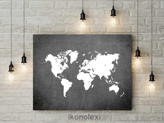 World Map Print Poster Of The Modern Wall