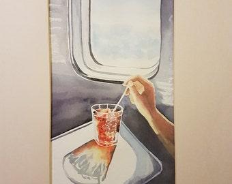 A drink on the plane  Darina Borissova     Watercolor on torchon paper  2014  20cm x 40cm