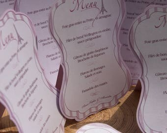Menu in tag cut out for dinner, wedding, to ask