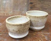Set of 2 Whiskey Cups in White and Brown- Handmade Wheel Thrown Sake Cups