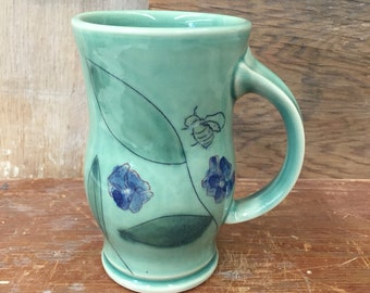 Porcelain Flower and Honey Bee Mug in Celadon - Handmade Wheel Thrown Mishima Pottery Green Coffee Cup 14 oz