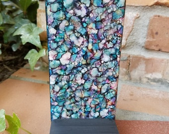 Alcohol Ink, Painting, Tile, Abstract, Flower Shapes, Blues, Pinks, Purples