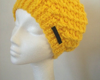 Slouchy beanie hat yellow hat soft warm knitted hat