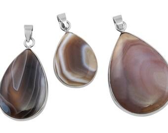 1 Pc 16x23-22x34 mm Botswana Agate Natural Teardrop Gemstone Pendant