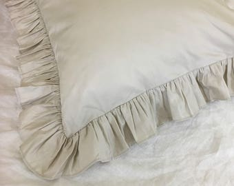 Champagne Ruffle Euro Sham Cover in Pima Cotton, Adorable! All sizes available!